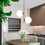 HLL Lámpara colgante de globo esférico nórdico, lámpara colgante de techo de vidrio de araña led contemporánea G9 ajustable para comedor, sala de estar, dorado, 256 pulgadas,dorado