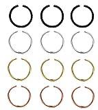 LOLIAS 12Pcs 20G 8MM 316L Stainless Steel Nose Rings Hoop Cartilage Hoop Septum Piercing Jewelry Hoop Nose Ring(A:3Pcs Steel,3Pcs Black,3Pcs Gold-Tone,3Pcs Rose-Gold-Tone)