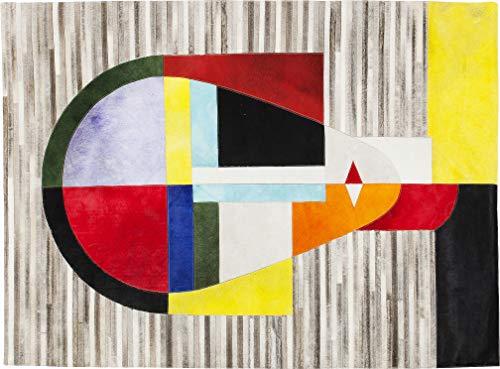 Kare Design Teppich Face Construct, großer Wohnzimmerteppich, Bodenteppich, Vorleger, Läufer, Grau-Bunt (H/B/T) 1x170x240cm