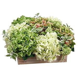 "Silk Flower Arrangements 11"" Hydrangea & Snowball Silk Flower Arrangement -Green/Cream"
