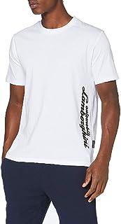 Automobili Lamborghini Men's B3XVB7B530261 Lamborghini Logo CAR T-Shirt, Bianco Ottico, M