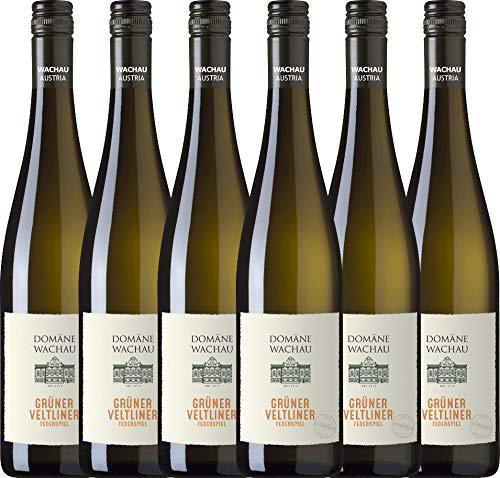 VINELLO 6er Weinpaket Weißwein - Grüner Veltliner Federspiel Terrassen 2020 - Domäne Wachau mit Weinausgießer | trockener Weißwein | österreichischer Sommerwein aus Wachau | 6 x 0,75 Liter