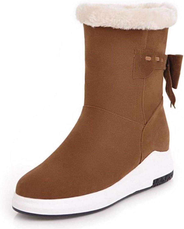 Women Winter Mid Calf Boots,Flats Bowtie Round Toe Plush Fur Boots Fashion Warm Slip-On Snow Booties