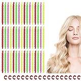60 piezas de rulos en espiral largos, varilla de plástico en espiral para el cabello adecuada para rizar el cabello en el hogar, rodillos de plástico en espiral con 60 clips en forma de C