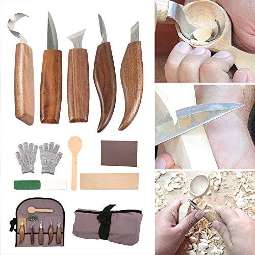 カービングナイフ セット 12本セット 彫刻刀 木工 木彫り フックナイフ ブレード研ぐ 収納袋付き 手袋付きウッドカービング 彫刻 伝統工芸 DIY工具 個人趣味 初心者 (12本セット)