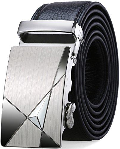 SIPLION Herren 100% echtes Leder Gürtel Solid Gürtelschnalle mit automatischer Ratsche 35mm breit 0219 Black 125CM