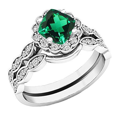 Dazzlingrock Collection 14K 5.5 MM Cushion Lab Created Emerald & Round Diamond Ladies Ring Set, White Gold, Size 5.5