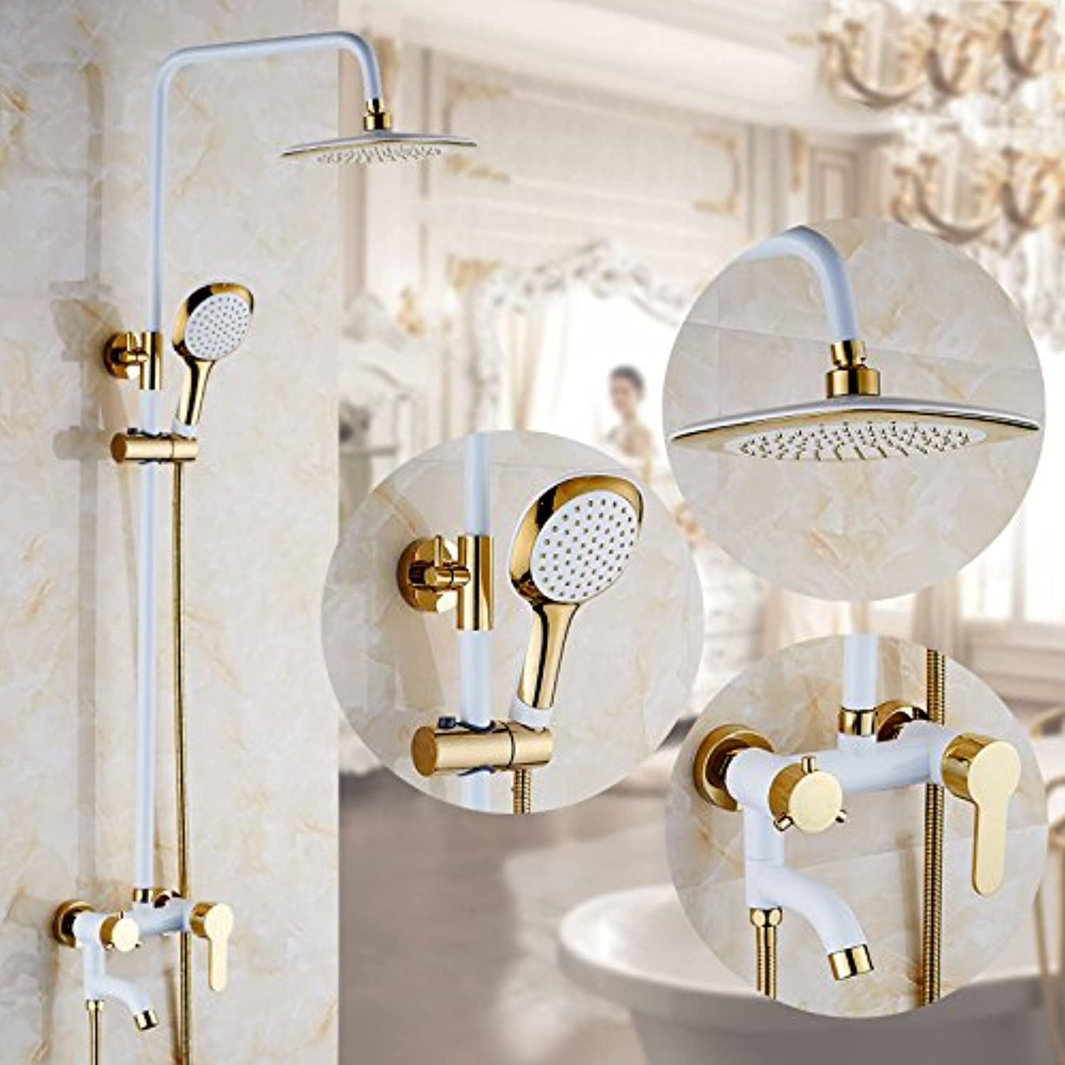 AiRobin-Continental Stylish Baked White Paint Brass gold Plated Shower System