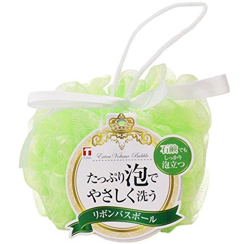 東和産業 泡立てネット リボン バスボール グリーン 直径約14cm