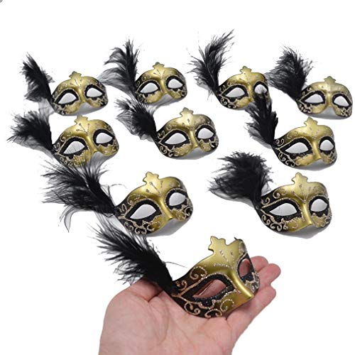 Yiseng Mini Mask Party Decoration 12pcs Black Feather Mardi Gras Mask Novelty Gift