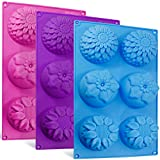 Senhai 6-Cavity Silikon-Blumenform Kuchenformen, 3 Packs Fondant Rose Form Dekorieren Eiswürfel...