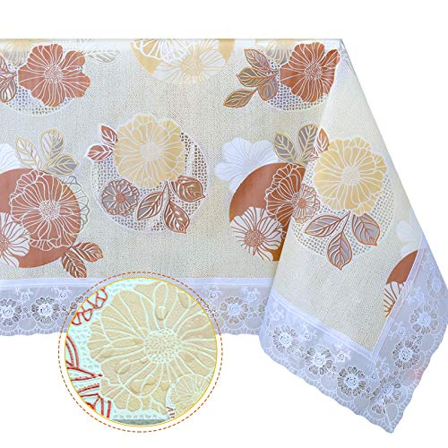 DITAO Vinyl Lace Tablecloth for Rectangle Table Waterproof Floral Dining Table Picnic Cover, 59 x 104 inch