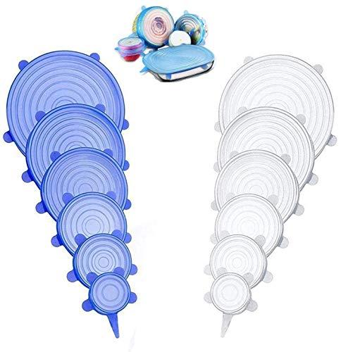 Tapas silicona ajustables cocina, tapas de silicona elásticas, tapas de silicona reutilizables ecológicas, tapaderas de silicona adaptables, eco tapas silicona