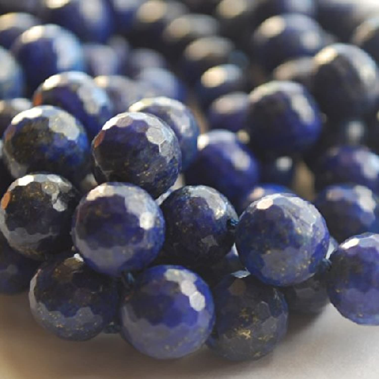 High Quality Grade A A A Natural Lapis LBlaui Faceted Semi-precious Gemstone Round Beads - 15  strand - 8mm (46 - 50 beads) B00KS9YL0S |  