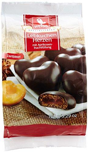 Weiss Lebkuchen-Herzen gefüllt Zartbitter, 12er Pack (12 x 150 g)