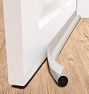 """deeToolMan Door Draft Stopper 36"""" : One Sided Door Insulator with Hook and Loop Self Adhesive Tape Seal Fits To Bottom Of Door/ Door Weather Stripping(Light beige)"""