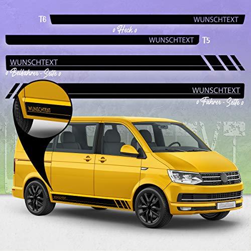 Auto-Dress Seiten-Streifen Aufkleber Set /Dekor passend für Volks-Wagen T4, T5 & T6 Bus in Wunschfarbe - Motiv: WUNSCHTEXT R (111M Black Matt, Radstand : kurz)