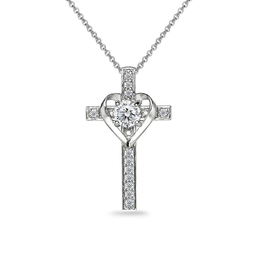 Sterling Silver Cross Heart Necklace Made with Swarovski Zirconia crvuorh30