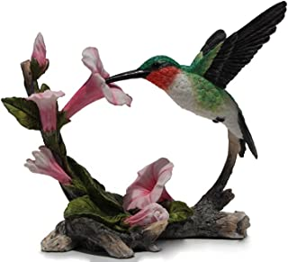 5.75 Inch Ruby Throated Hummingbird Statue Figurine, Pink and Green