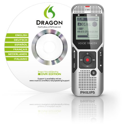 Philips DVT1500/00 2 GB Digital Voice Tracer with 2 Built-In Microphones and Dragon Naturally Speaking Voice Recorder