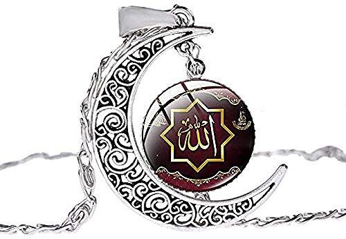 Collar Islámico Musulmán De La Cultura De Alá Color Plata Antigua Colgante De Luna Creciente Collar De Cadena De Clavícula Para Ramadán Collar De Regalo Longitud 50Cm + 5Cm Colgantes Diámetro 2 Collar