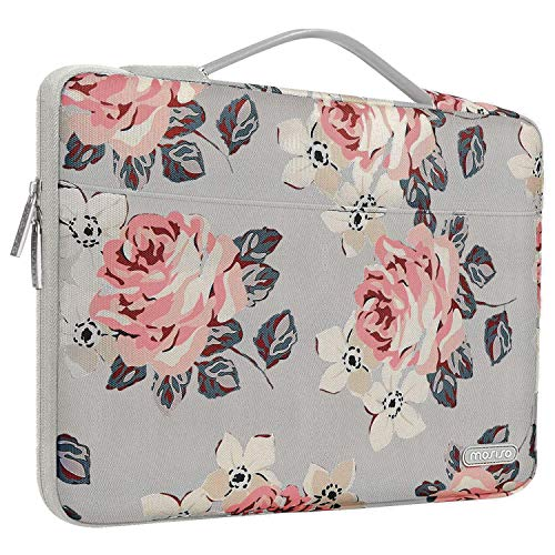MOSISO Laptop Sleeve 360 Protective Case Bag Compatible with 2019 MacBook Pro 16 inch A2141, 15-15.6 inch MacBook Pro 2012-2019,Notebook with Trolley Belt,Polyester Rose Pattern Carrying Handbag,Gray