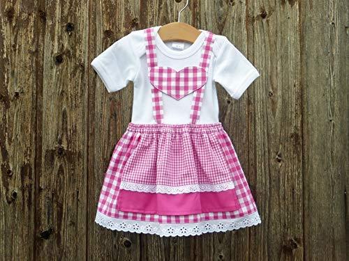 Pink-weißes Babydirndl, kariertes Taufkleid, Taufe in Bayern, Babysuit im Trachtenstil, Dirndl fürs Kind, Kleid fürs Oktoberfest, Tracht,