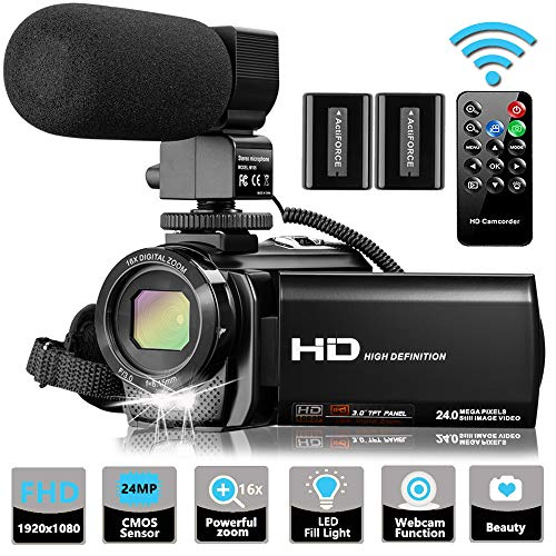 Video Camera Camcorder with Microphone, VideoSky FHD 1080P 30FPS 24MP Vlogging YouTube Cameras...