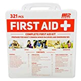 M2 BASICS 321 Piece Emergency Survival First Aid Kit | Free First Aid Guide | Medical Supply | Home, Office, Outdoors, Car, Camping, Travel