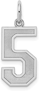 Sterling Silver Large Elongated Polished Number Charm in Silver Choice of Numbers and 2 3 4 6 8 9
