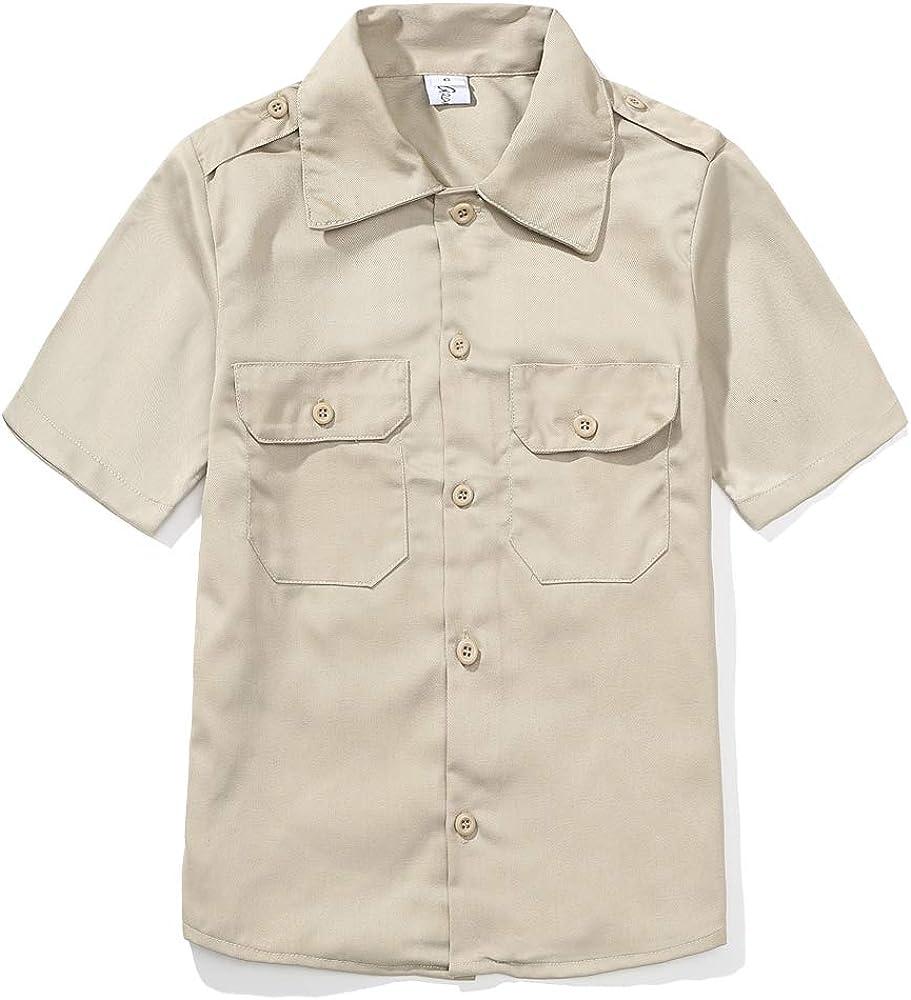 GRANDWISH Boys Short Sleeve Button-Down Shirt, Kids Work Shirt, Khaki 6-14