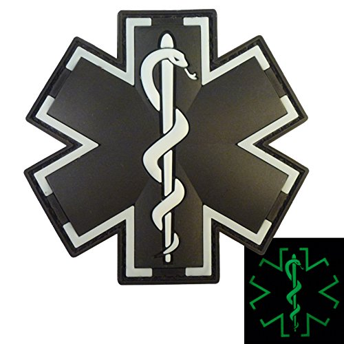 2AFTER1 Glow Dark Black EMS EMT Medic Paramedic Star of Life Morale Tactical PVC Touch Fastener Patch