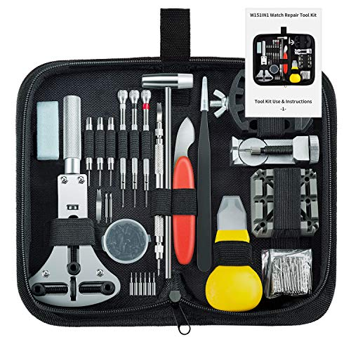 Unamela Professional Watch Repair Kit, Watch Band Tool Link Pin Remover Set, Including Watch Back Case Opener, Spring Bar and Operation Manual, Suitable for Battery Replacement and Strap Adjustment