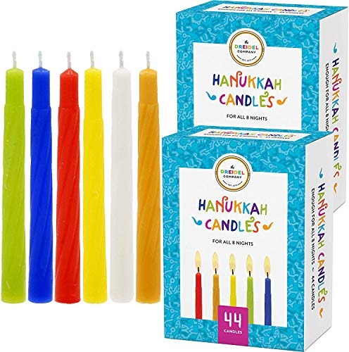 The Dreidel Company Menorah Candles Chanukah Candles 44 Colorful Hanukkah Candles for All 8 Nights of Chanukah (2-Pack)
