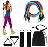CUQOO   11pc Resistance Bands Set   Perfect for Workout Yoga Crossfit Pilates Physio   Home Gym Equipment Full Body