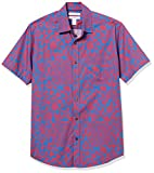 Amazon Essentials Men's Regular-Fit Short-Sleeve Shirt, Red/Blue Large Floral, Medium