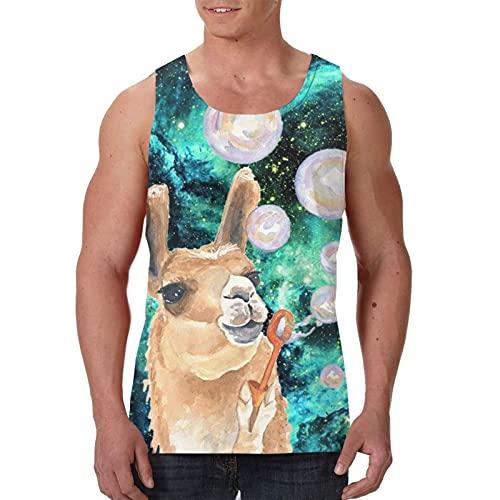 Herren Tank Top Muscle Tees Cool Shirts Hawaii Beach Vest Bodybuilding Singlet Gr. XXL, Süße Lama-Alpaka-Blasen, Schwarz
