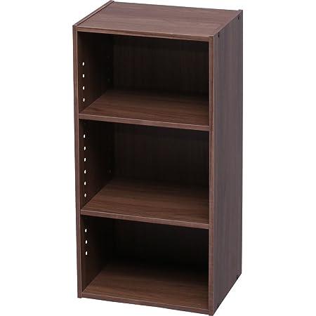 アイリスオーヤマ カラーボックス 収納ボックス 本棚 2段 可動棚 幅36.6×奥行29×高さ73.2cm ウォールナットブラウン モジュールボックス MDB-3K