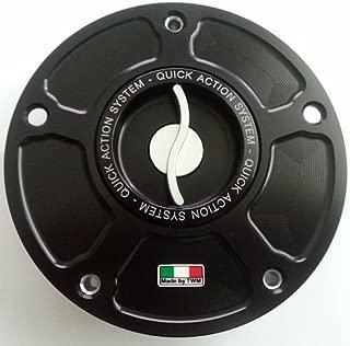 TWM Quick Action CNC Billet Fuel Gas Cap with Silver Handle fits Yamaha YZF R1 R1M R3 R6 FZ09 FZ07 XJR FZ1