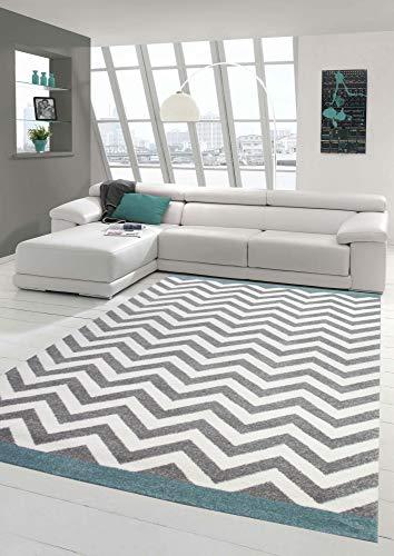 Wohnzimmer Teppich Skandinavisches Design in Türkis Creme Grau Größe 80x150 cm