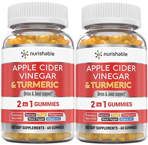 Apple Cider Vinegar Gummies & Turmeric Gummies in 1 Bottle - for Joint Support, Detox Cleanse & Weight Management for Women & Men - Packed with Ginger, B12, Black Pepper, Pomegranate (2-Pack)