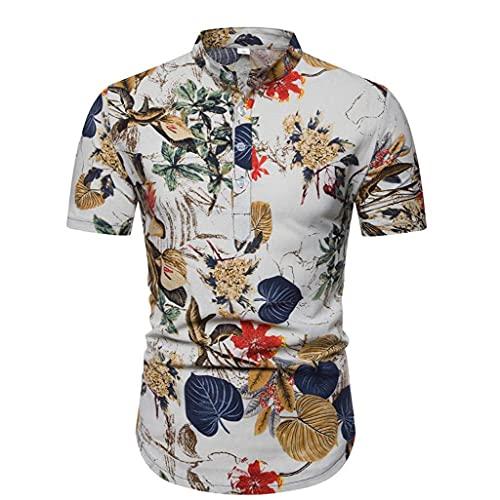 EElabper Tops étnicas Lino Henley Camisas de Manga Corta con Banda de Cuello de la Camisa Hawaiana Vendimia Verano Ropa Ocasional de los Hombres