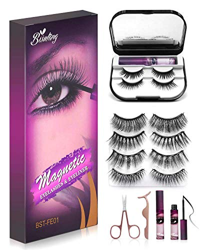 Bisutang [Upgraded] Magnetic Eyelashes and Eyeliner, 6-Pairs Reusable Magnetic Lashes and 2 Tubes of Magnetic Eyeliner with Storage Case, Glue-free Natural Look Eye Lashes with Scissors Tweezers