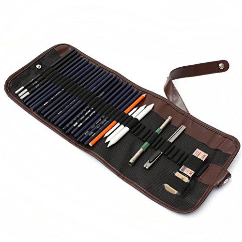 WINOMO 30 Stück Skizze Bleistift Kohlestift Radiergummi Set mit Leinwand Tasche