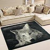 #Teppich #Wolf #weiss #Wolfskopf  #Wohnzimmer  #Schlafzimmer 63x48 Inch (ca. 160x122 cm)  oder 80x58 Inch   (ca. 203x147  cm)
