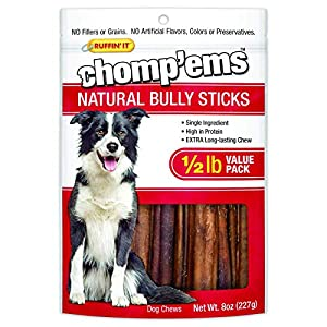 Chomp'ems Natural Bully Sticks Treat Chews for Dogs, 1/2lb