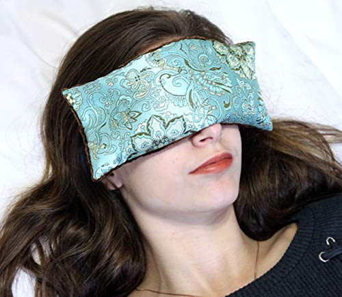 Candi Andi Handmade Eye Pillow | Stress, Anxiety, Migraine Relief, Sleep Aid, Aromatherapy | Hot/Cold | Flax Seed Filled | UnScented | Satin Brocade & Crushed Velvet | Blue Lagoon - TEP-BL
