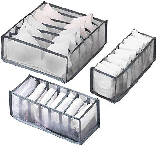 3 Set BHs Unterwäsche Schublade Organizer, Unterwäsche Storage Organizer,Flodable Schubladenorganizer, Aufbewahrungsbehälter Box Behälter für BHs, Socken, Unterwäsche, Krawatten (grau)