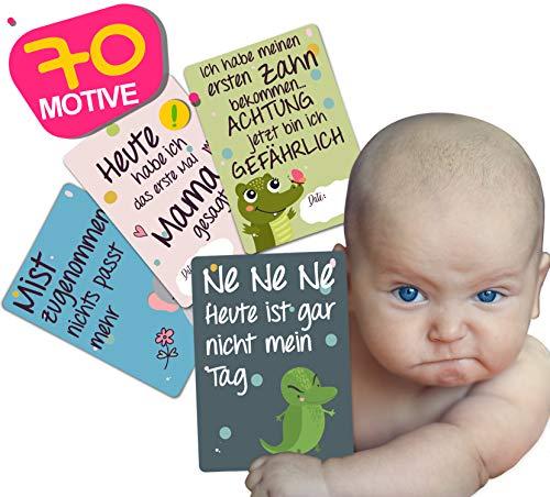 JANEYO - Meilensteinkarten für Ihr Baby - 70 Meilenstein Motive, inklusive Wochen-, Monats-Karten und lustigen Karten - Fotokarten für die ersten 18 bis 24 Lebensmonate