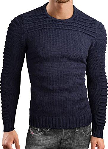 Grin&Bear Coup Slim Sweat Shirt tricoté Crew Neck Homme, Bleu Marine, XL, GEC318